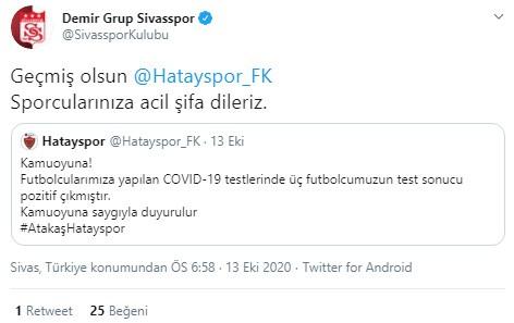 Sivasspor'dan Hastayspor'a geçmiş olsun mesajı
