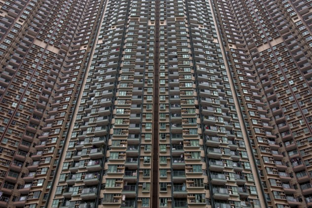 Apartment units are clustered tightly together in Hong Kong, on February 8, 2014. Home prices in the southern Chinese city have risen by 120 percent since 2008, and by more than 30 percent from their previous peak in 1997, with prices in the luxury market being pushed up by wealthy buyers from mainland China. AFP PHOTO / ALEX OGLE (Photo credit should read Alex Ogle/AFP/Getty Images)