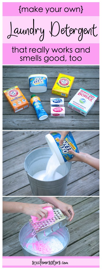 DIY Laundry Detergent | Make Your Own Laundry Soap | DIY Powdered Laundry Detergent | Laundry Soap Recipe | Laundry Soap Homemade | Laundry Soap | Laundry Soap Recipe Powdered | You guys, this stuff really works and smells super good, too. Check out the easy recipe on sixcleversisters.com. We were Tide only users until we started making this!