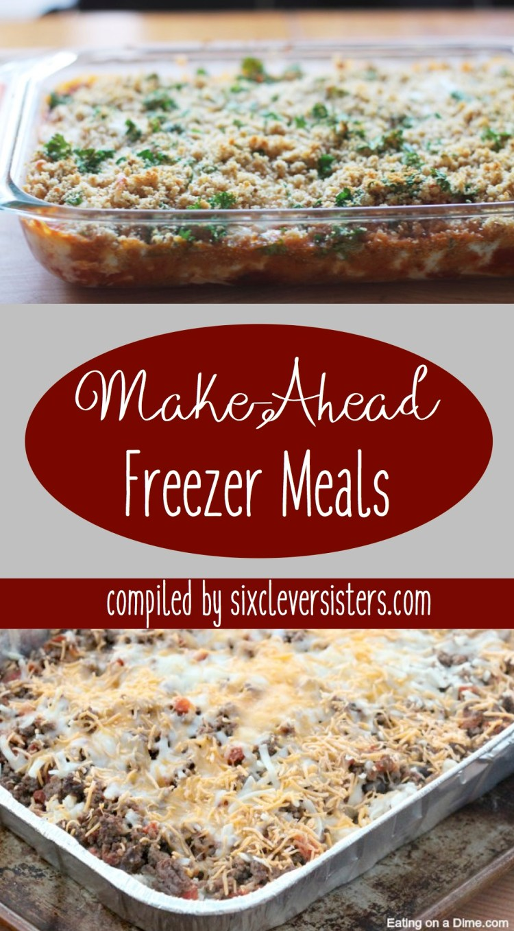 Make Ahead Meals | Freezer Meals | These make ahead freezer meals are perfect for those busy days when all you have time to do is pop a pan in the oven! {Recipe roundup compiled by SixCleverSisters}