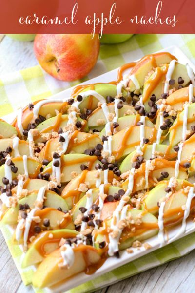caramel apple nachos healthy fall thanksgiving appetizer recipe