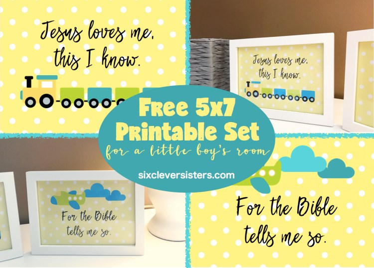 Free 5x7 Printable Set for a little boy's room