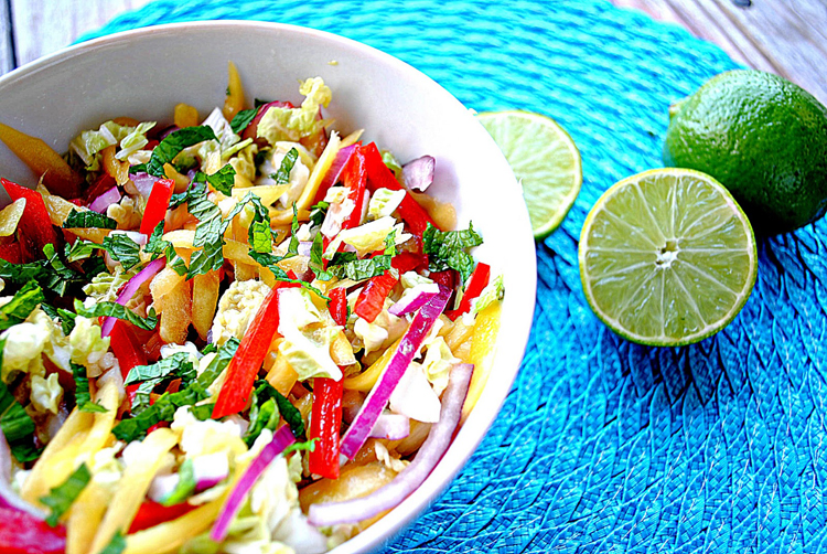 mango slaw with cashew and mint Spring Salad Recipes | Healthy Recipes | Salad Recipes | Strawberry Spinach Salad | Best Salad Recipe | Vegan Recipes | Healthy Recipes | Healthy Meals | Salad Ideas | Easter Recipe Ideas | Easter Ideas