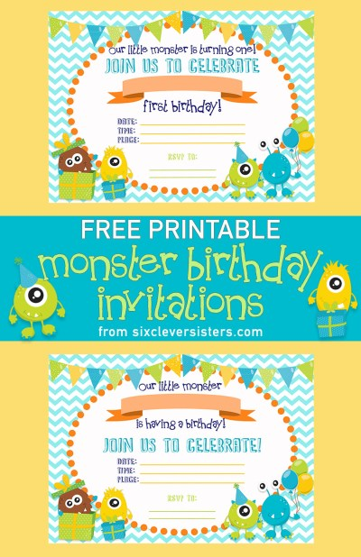 Monster Birthday Invitations Free Printable | Little Monster Birthday | Printable Birthday Invitations | Free Printables | Printable Invitations | Free Printable Birthday Invitations | Monster Birthday Party | Download and print these cute little monster invites for your little monster's birthday party! Available on the Six Clever Sister's blog!
