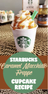 Starbucks Caramel Macchiato Frappe Cupcake recipe | starbucks coffee | cake decorating | Recipe on Six Clever Sisters for these amazing Caramel Macchiato Cupcakes!