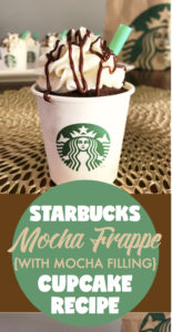 Starbucks Mocha Frappe Cupcakes | Mocha Filing | Starbucks Recipes | Cupcake Recipe | Party Food | Party | Coffee Lover | Starbucks Copycat | Starbucks Drinks | Chocolate Lover | Check out these Mocha Frappe Drinks on Six Clever Sisters!
