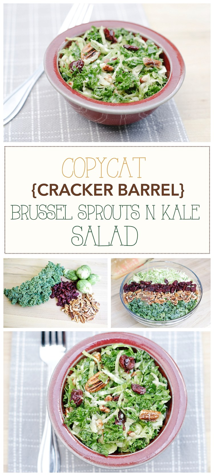 Cracker Barrel Copycat Brussel Sprouts n Kale Salad Recipe | Vegan Healthy Salad | Gluten free | Pecans Craisins Salad | Maple Vinaigrette Recipe | Healthy Meal Ideas | Healthy Recipes | Spring Summer Salads | Copycat Recipes | Six Clever Sisters