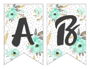 graphic relating to Printable Banners titled No cost Printable Alphabet Banner MINT GOLD - 6 Sensible Sisters