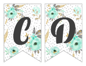Free Printable Alphabet Banner Mint And Gold   Free Printable Letters For  Banners   Free Printable ...