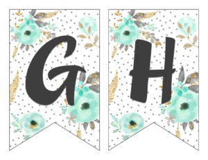 photo about Printable Letter Banners identified as Totally free Printable Alphabet Banner MINT GOLD - 6 Sensible Sisters