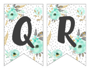 picture about Printable Letter Banners known as Free of charge Printable Alphabet Banner MINT GOLD - 6 Intelligent Sisters