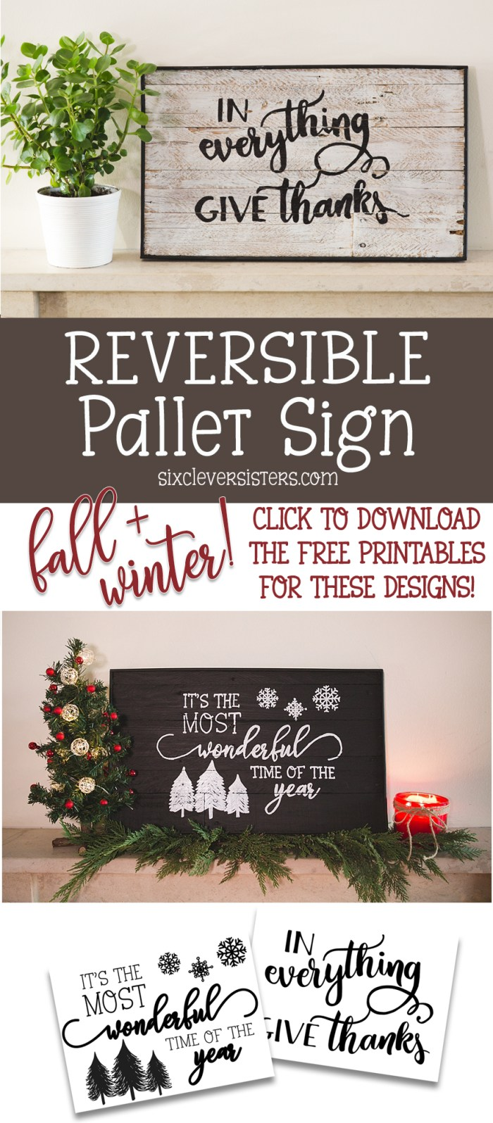 How to Make a Reversible Pallet Sign | Reversible Pallet Sign | DIY Pallet Sign Reversible | Rustic Holiday Sign | DIY Holiday Signs | Reversible Pallet Sign DIY | Making this reversible holiday sign for TWO seasons is easy! Included on the Six Clever Sisters blog is a video on how to transfer designs onto wood the easy way!
