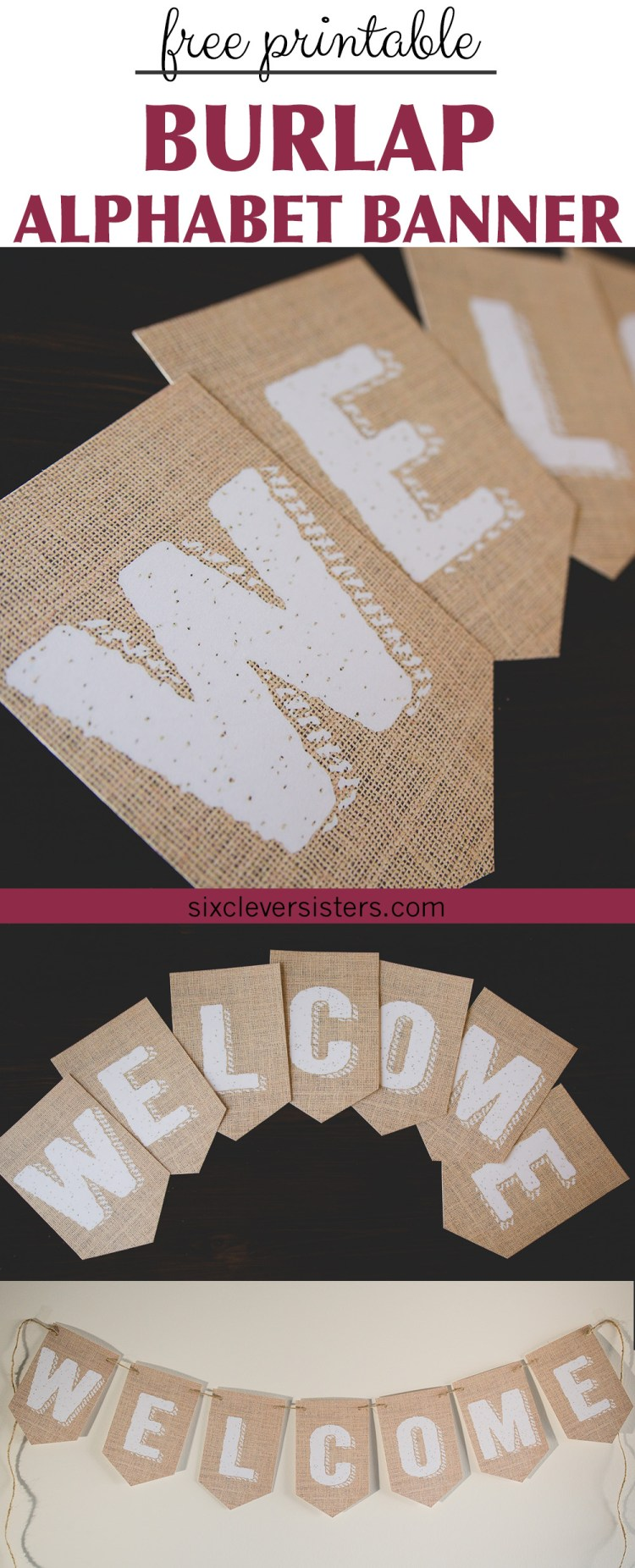 Printable Burlap Banner  Six Clever Sisters