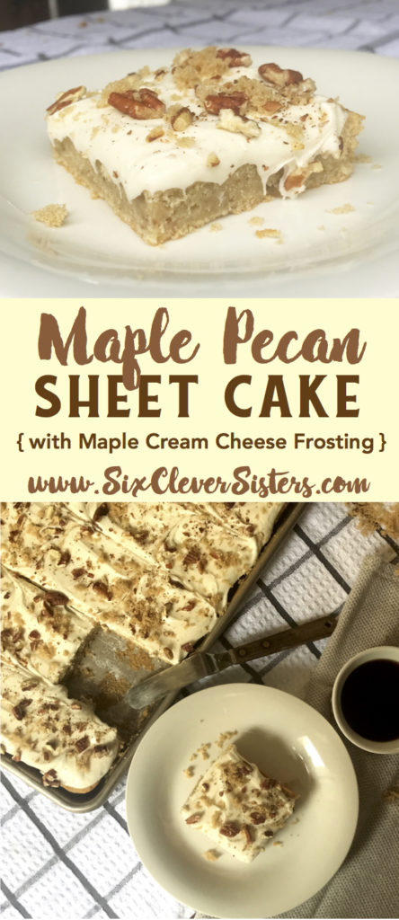 Maple Pecan Sheet Cake | Fall Recipes | Desserts | Fall Recipes Dessert | Dessert Recipes Easy | Desserts For a Crowd | Desserts For Parties | Maple Cake | Holiday Desserts | Cream Cheese Frosting | Dessert Ideas | Holiday Recipes | Cake For a Crowd | Fall Desserts | Thanksgiving Recipes | Sheet Cake Recipes | Recipe on Six Clever Sisters for this amazing Maple Pecan Sheet Cake! It's one you're going to want to add to your holiday menu!