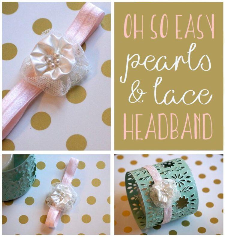 baby lace headband pearls stretchy headband DIY baby