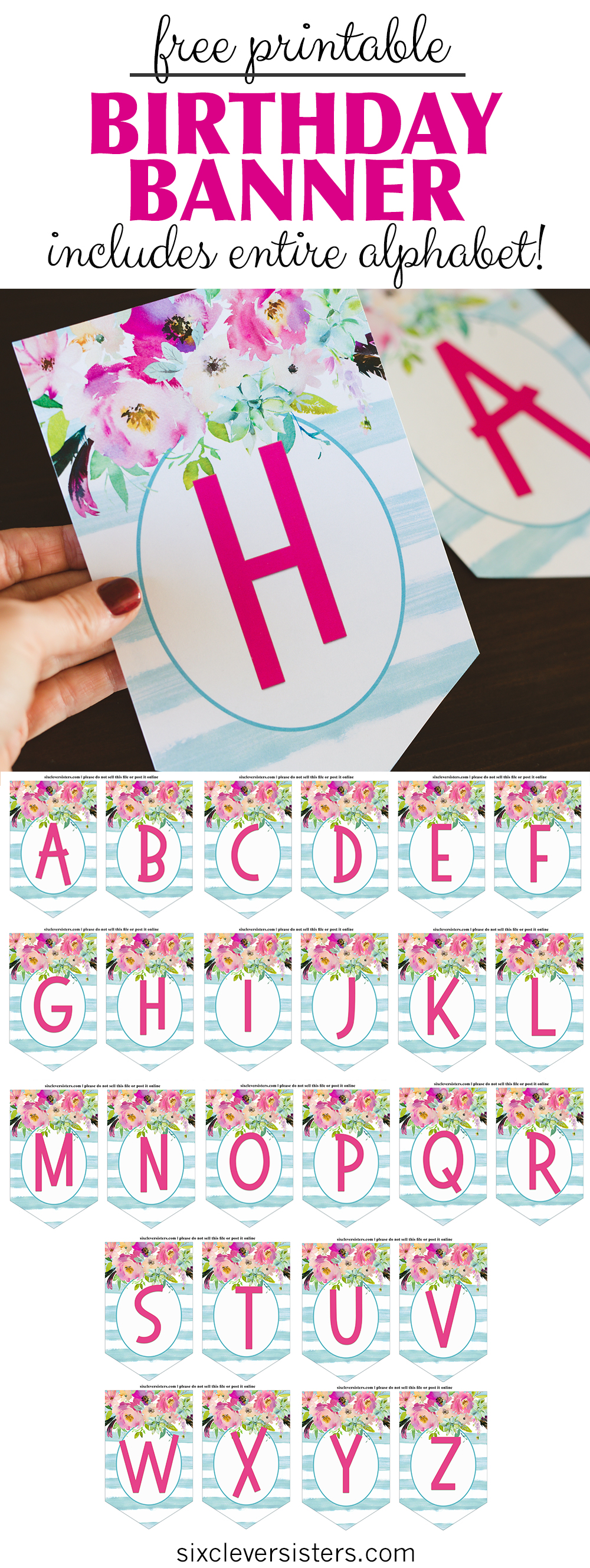 photo relating to Printable Happy Birthday Banner named Free of charge Printable Birthday Banner - 6 Sensible Sisters