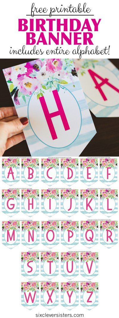 Free Printable Birthday Banner | Free Printable | Happy Birthday | DIY Banner | Birthday Banner Letters | Printable Alphabet | Alphabet Banner Free Printable | Download this trendy birthday banner (+ entire alphabet!) to DIY a banner for your next event! On the Six Clever Sisters blog