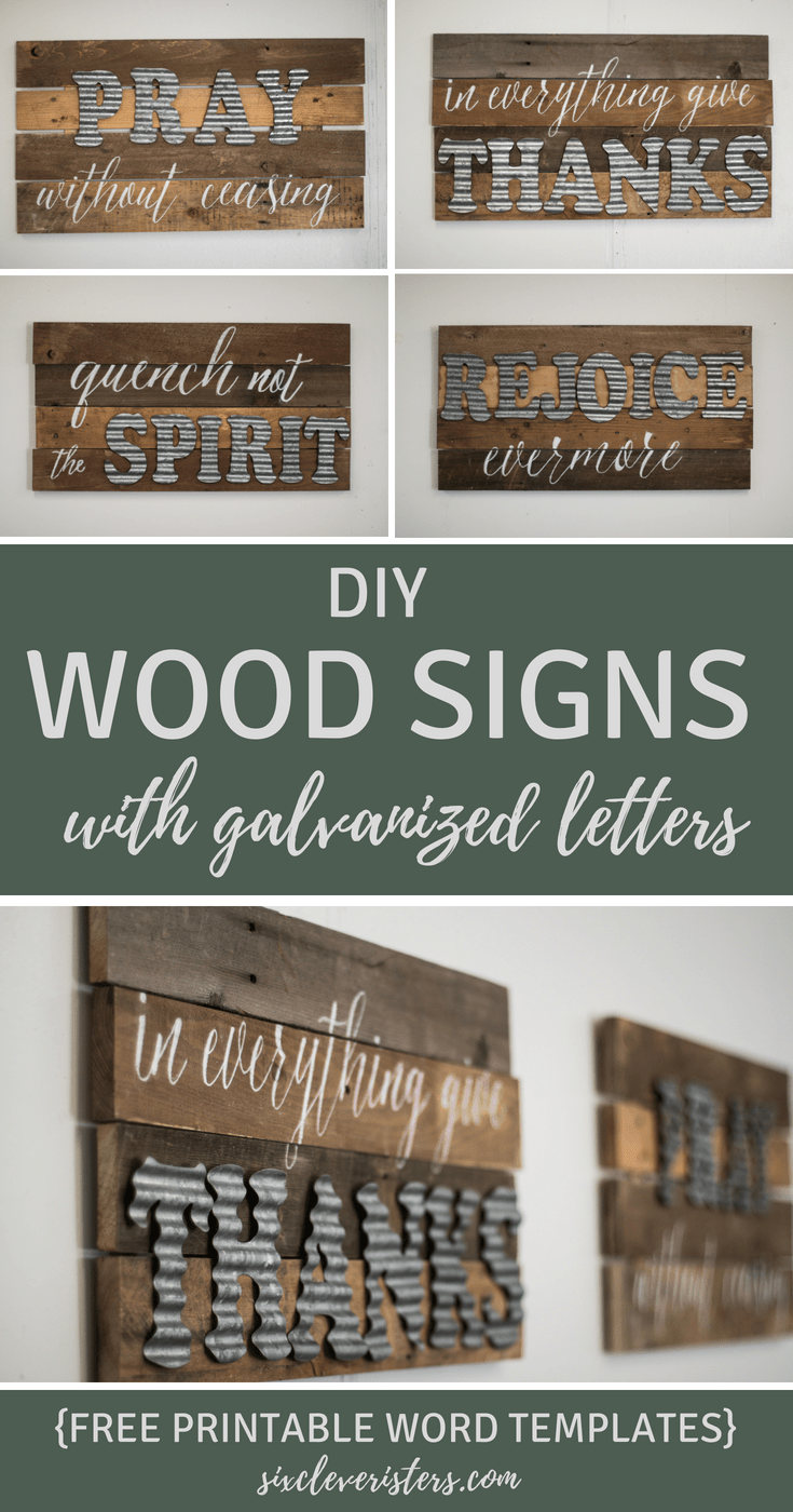 Diy Wood Sign With Galvanized Metal Letters Six Clever