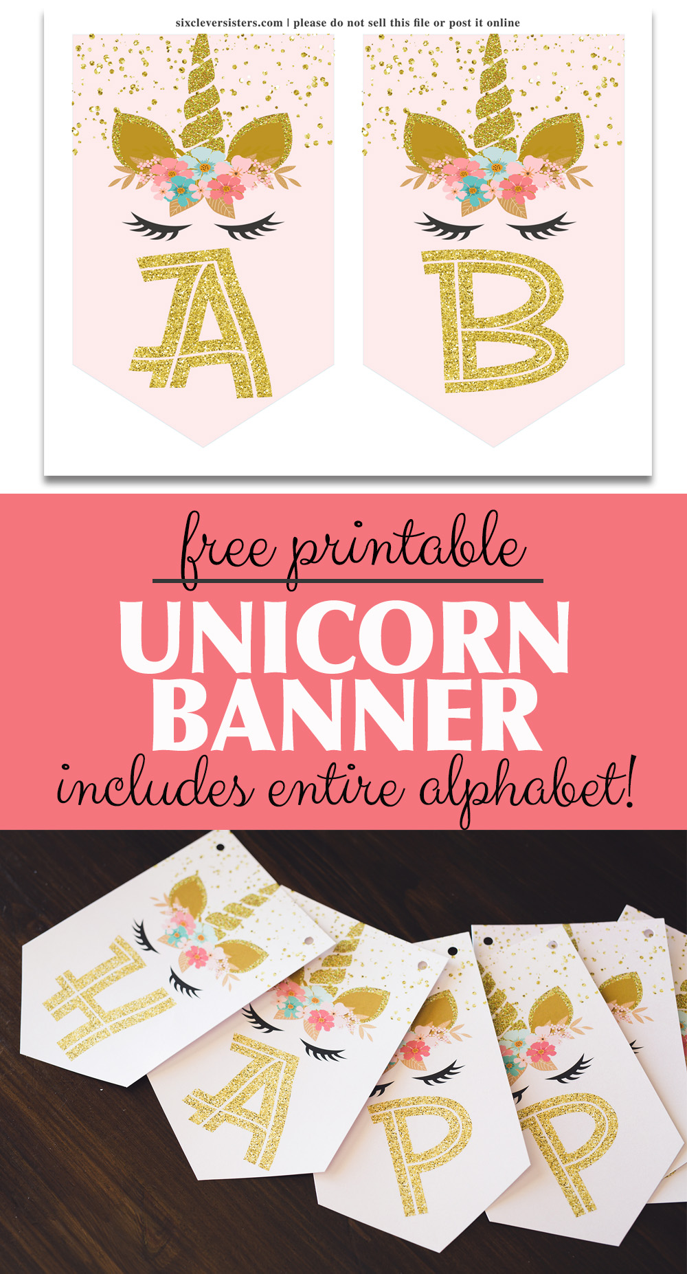 photo relating to Free Unicorn Printable titled Unicorn Banner Absolutely free Printable! (purple gold unicorn banner!)