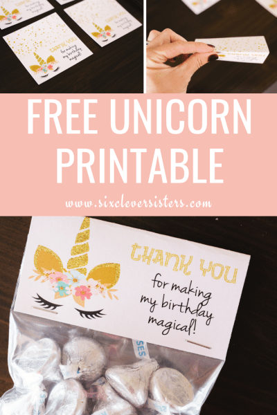 Unicorn Party | Unicorn Party Ideas | Unicorn Party Theme | Unicorn Party Decor | Unicorn Printable Free | Unicorn Printable Party | Unicorn Treat Bags | Unicorn Treat Bag Ideas | Unicorn Treat Bags DIY | Add a little sparkle to your unicorn party with these free treat bag printable. #unicorn #unicornparty #sixcleversisters