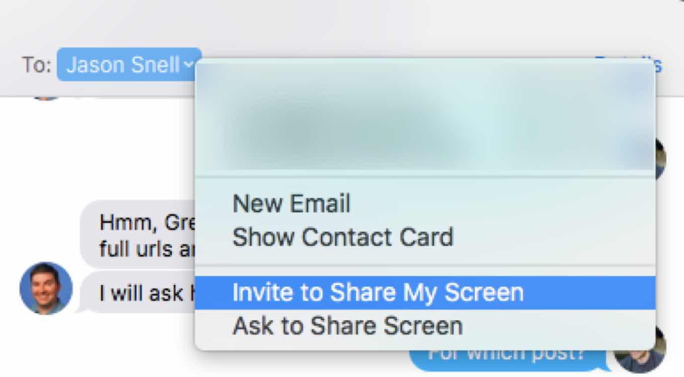 Screensharing in Messages