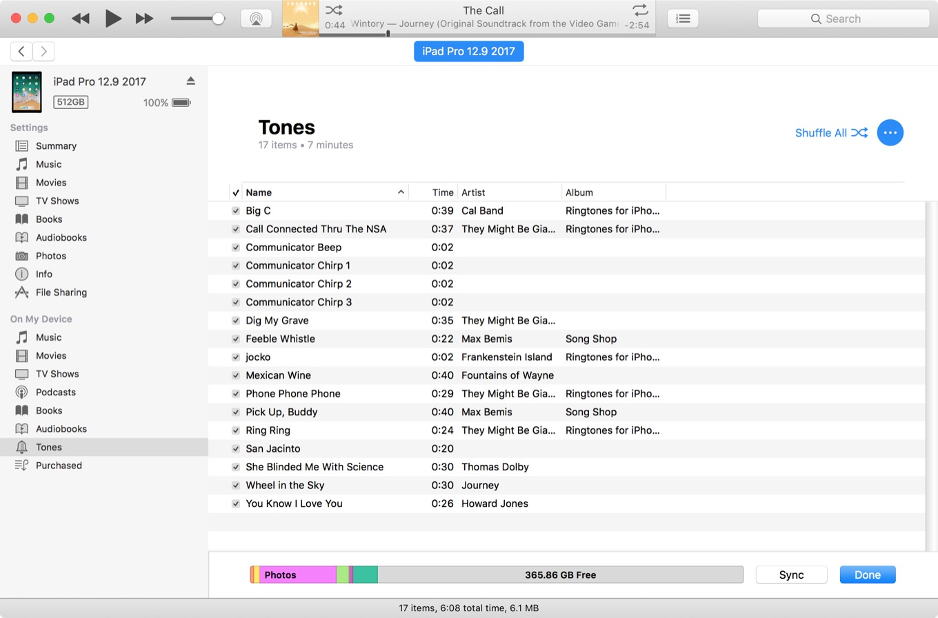 Tones section of iTunes