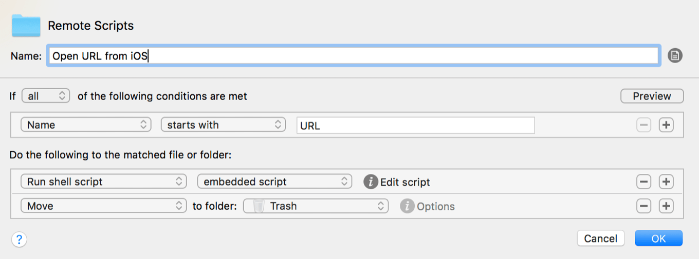 Name starts with URL, run shell script embedded, move to trash