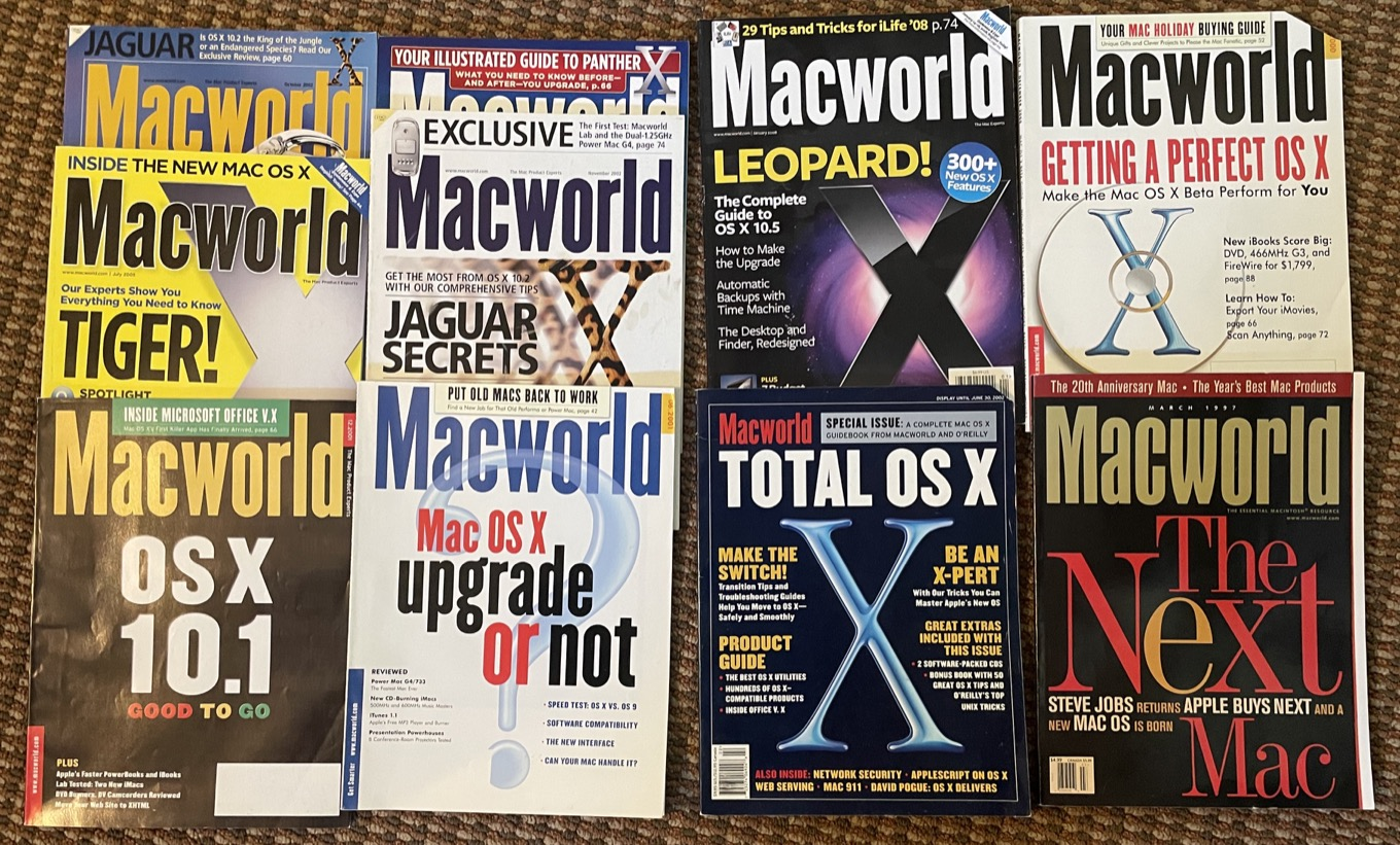 a bunch of OS X magazine covers