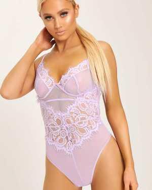 Lilac Floral Lace Cup Detail Bodysuit - XS / PURPLE