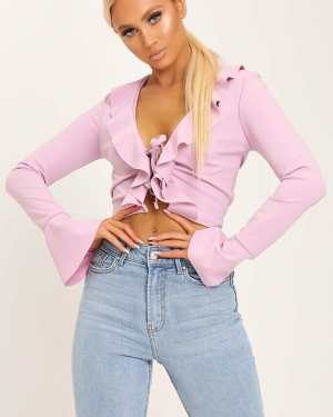 Lilac Ruffle Tie Front Blouse - 6 / PURPLE