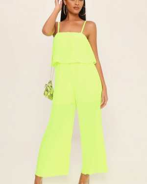 Neon Lime Pleated Culotte Jumpsuit - XS / GREEN
