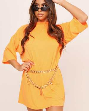 Neon Orange Oversized T-Shirt Dress - 6 / ORANGE