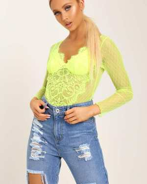 Neon Yellow Long Sleeve Floral Lace Bodysuit - XS / YELLOW