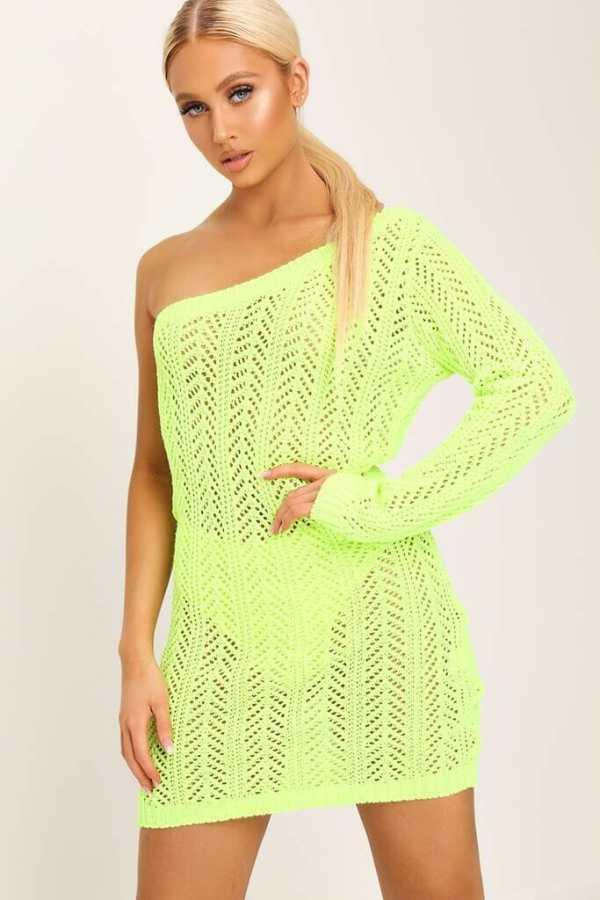 Neon Lime Crochet One Shoulder Mini Dress - 6 / GREEN