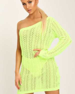 Neon Lime Crochet One Shoulder Mini Dress - 6 / GREEN