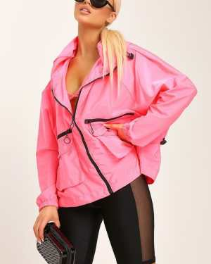 Pink Neon Hooded Festival Jacket - S/M / PINK