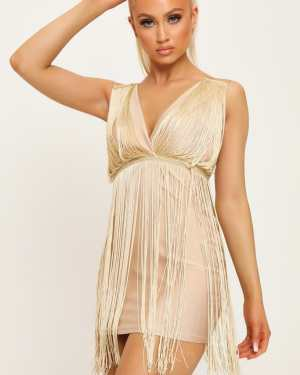Gold Plunge Tassle Mini Dress - 16 / METALLIC