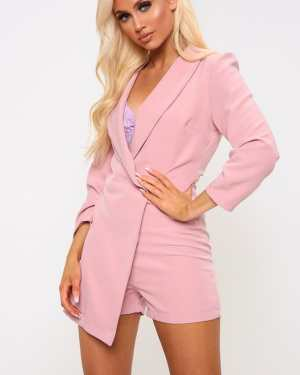 Pink Wrap Over Blazer Playsuit - M / PINK