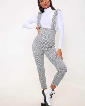 White/Black Gingham Ruffle Jumpsuit - 10 / MULTI