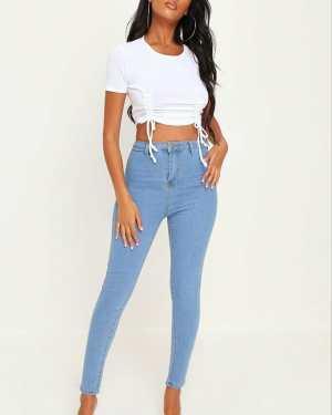 Light Wash Basic High Waisted Disco Skinny Jeans - 14 / BLUE
