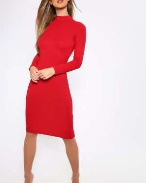 Red Basic Long Sleeve Turtleneck Midi Dress - 12 / RED