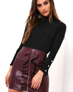 Ruffle Zip PU Skirt - XS / RED