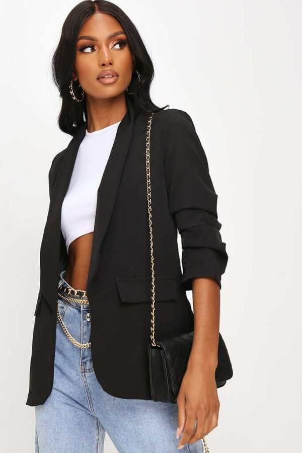 Black Woven Ruched Sleeve Blazer - 12 / BLACK