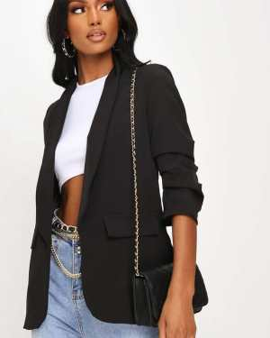 Black Woven Ruched Sleeve Blazer - 12 / BLACK