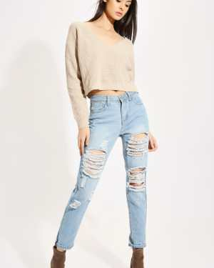 Light Wash Frayed Ripped Roll Up Jeans - 12 / BLUE