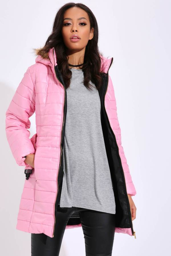 Pink Padded Jacket With Fur Hood - M / PINK