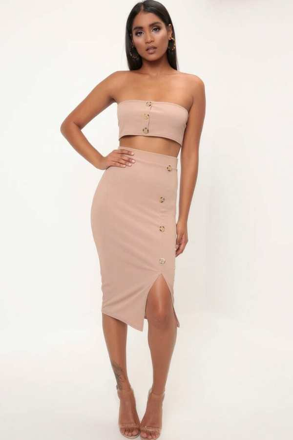 Camel Button Detail Ribbed Midi Skirt - 16 / BEIGE