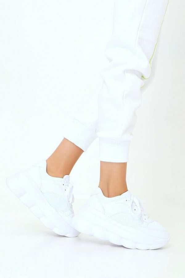 White Chunky Platform Trainers - 4 / WHITE