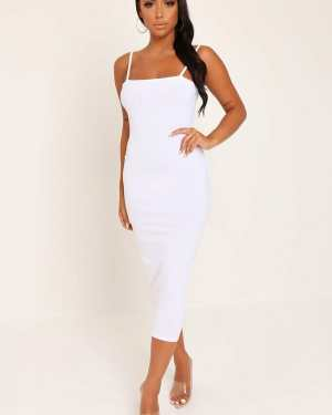 White Cami Ribbed Midaxi Dress - 16 / WHITE