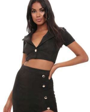Black Cropped Suede Button Jacket - 6 / BLACK